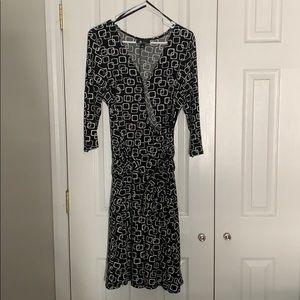 AB Studios Size XL Black Faux Wrap dress with belt